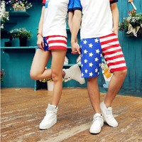 Casual American Flag Beach Shorts for Couple