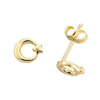 Moon Star 14k Solid Gold Earring