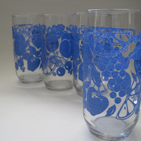 Vintage Glasses Drinking Blue Fruit/Tumblers//Relief Lemons Grapes Apples//Set of 4