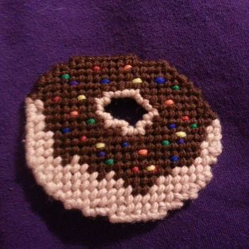 Etsy Plastic Canvas Chocolate Donut Magnet or Christmas Ornament