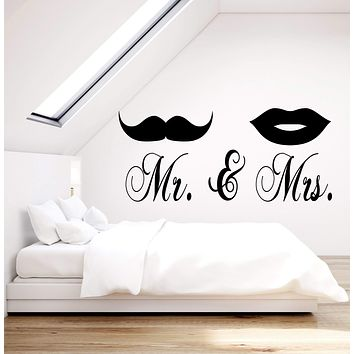 Vinyl Wall Decal Mr. and Mrs Mustache Lips Bedroom Decor Stickers (2212ig)