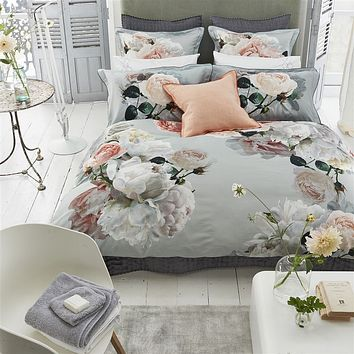 Peonia Grande Zinc Bedding by Designers Guild