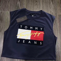 Tommy Hilfiger Jeans Cropped Top Tee - Navy blue