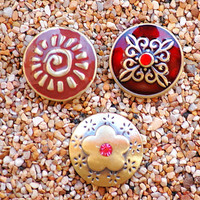 Noosa Style Bronze Sun Flowers Popper Chunk Snap Charm Interchangeable Button Jewelry. The Price is for one unit.