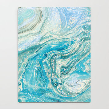 Marble Collection: Blue Liquid Marble, Blue Abstract Art, Contemporary Elegant Notebook