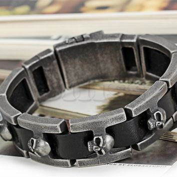 SHIPS FROM USA Vintage Black Leather Bracelet Men Skull Heads Charm Wrap Bangle 9.4 inch Mens Boy Gift pulseira de couro