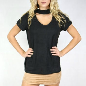 Oregon Trails Black Suede Choker Top