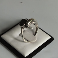 Dolphin Ring with Dark Stone, Sterling Silver, Size 8, Beautiful Vintage Ring