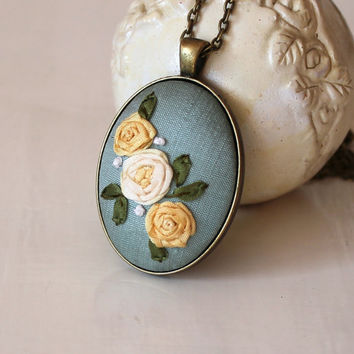 Yellow Roses On Teal Silk Dupioni Silk Ribbon Embroidery Pendant Necklace