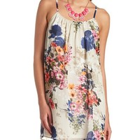 Floral Print Chiffon Shift Dress