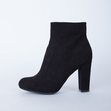 Suede Chunky Heel Boots