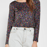 MINKPINK Glamour Glitter Cropped Top - Urban Outfitters