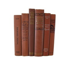 Brown Terra Cotta Books for Farmhouse Book Decor, S/6