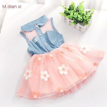 The latest Baby Kids, small Lapel jeans, sleeveless princess dress, tulle + little print, fashion party dress 0-3