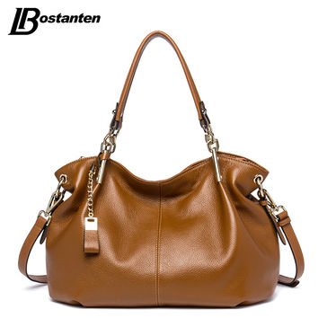BOSTANTEN Casual Tote Women Shoulder Bags Cow Genuine Leather Women Bags Designer Brand Female Handbags Hobo Crossbody Bags Sac