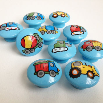 Hand Painted Construction Drawer Pulls / Dresser Knobs