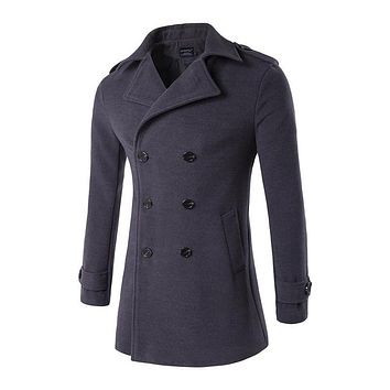 Fashion Men Slim Fit Trench High-end Winter Keep Warm Woolen Cloth Coat/Male Stand Collar Pure Color Long Single-Breasted Jacket