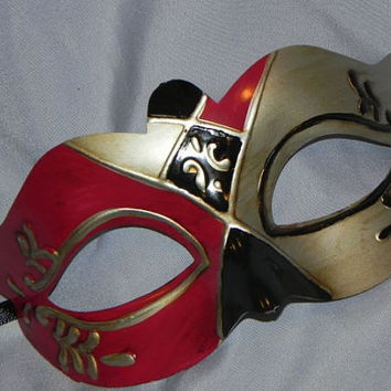 Red, Black and Silver Teatro Mask