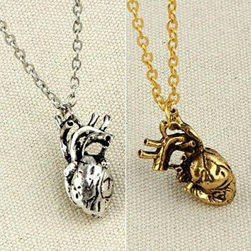 Bluelans Men Retro 3D Anatomical Human Hollow Heart Pendant Necklace Punk Sweater Chain
