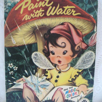 Vintage Painting Book, Paint with Water, Unused 1954 Childrens Paint / Coloring Book Merrill Publishing