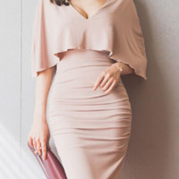 Plunging Neck Bodycon Ruched Cape Dress