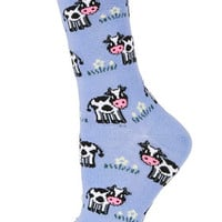 Cows And Grass Ankle Socks - Blue