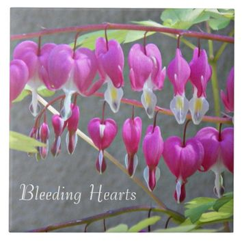 Pink Bleeding Hearts Floral Tile