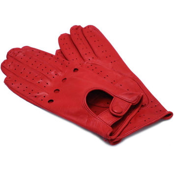 Women's Red Leather Napoli Driving Gloves