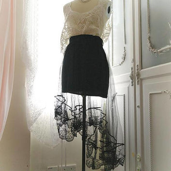 Gothic Goth Steampunk High Low tulle Lace black hem Mermaid Black Skirt dark witch style wicked
