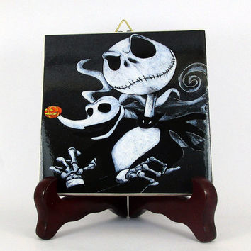 The Nightmare before Christmas Ceramic Tile Jack and Zero Dog - Handmade Collectible - Skellington Ghost Dog gothic black mod. 106