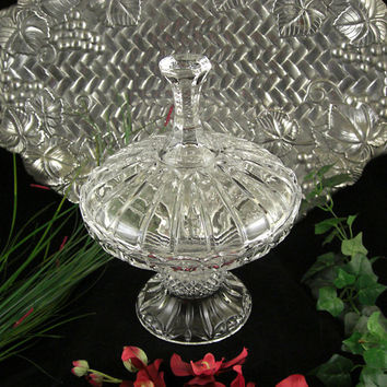Large Crystal Pedestal Wedding Bowl / Covered Candy Dish