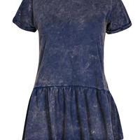 Avril Acid Wash Peplum Top