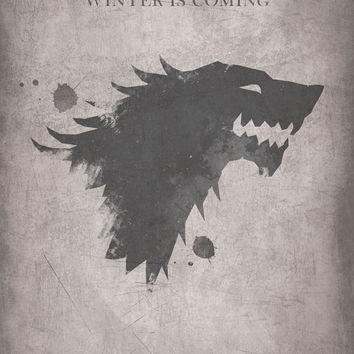 Game of Thrones Inspired Vintage Poster - House Stark