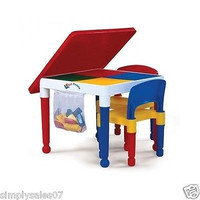 Kids Construction Lego Building Table Chair Set Furniture Play Tables Chairs