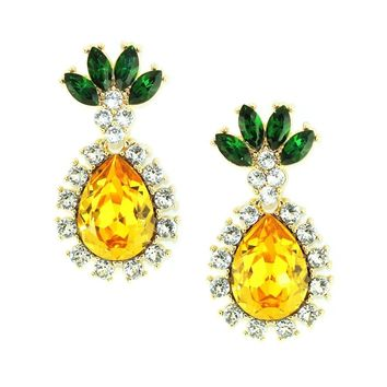 Yellow Rhinestone Drop Earring Ring Jewelry Set