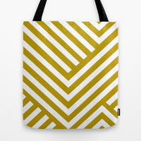 Gold Stripes Tote Bag by Liv B