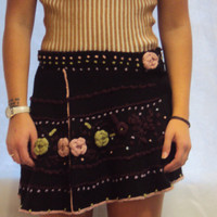 90s Boho EMBROIDERED Mini Skirt S/ M / Three Dimensional Flowers / Circle Skirt / Knit Skirt / Free People Style