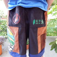 Earthy Grateful Dead Landscape SYF Corduroy Patchwork Mens Shorts Festival Shorts Hippie Patchwork Straight Leg Shorts Guys Shorts