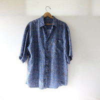 80s silk shirt. oversized silk top. printed silk tee shirt.