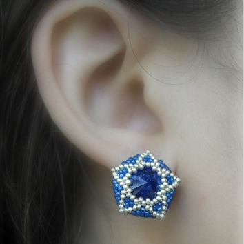 Star Earring, Blue Star Earrings, Large Stud Earrings, Sapphire, Navy Blue, Beaded Jewelry, Milky Way Stud Earring, Astronomy, Shooting Star