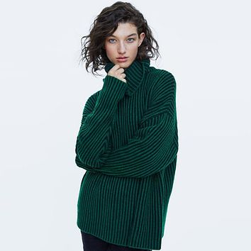 Women Loose Fashion Solid Color Stripe Turtleneck Long Sleeve Knit Sweater Pullover Tops