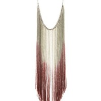 Cinnamon Ombre Fringe Statement Necklace by Charlotte Russe
