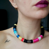 Tribal necklace, Rope Necklace, African necklace, Choker necklace Choker, African Choker, African jewelry, Tribal necklace, Collier Africain
