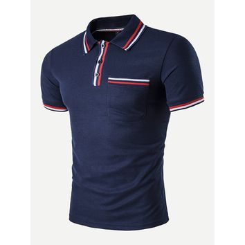 Men Striped Detail Polo Shirt