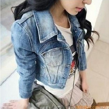 2014 Spring Womens Girls Sweet Princess Slim Crop Denim Jacket Distressed Outerwear Coat Worn White Washed Short Jean Jacket
