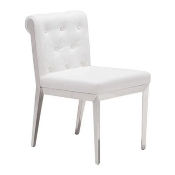 Aris Dining Chair White Stainless Steel (Set of 2)