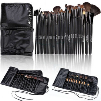 New Fashion Professional 32pcs Soft Cosmetic Tool Makeup Brush Set Kit With Pouch