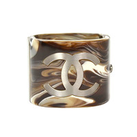 CHANEL Brown Marble Design Cuff
