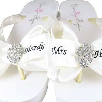 Vintage lace mrs Wedding Bride Bridal Flip Flops,  sandals Ivory Wedge White Platform Satin Personalized Mrs Last Name Custom