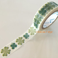 Washi tape 15mm - Green Clover Leaves 10 meters  WT756 by Shinzi Katoh